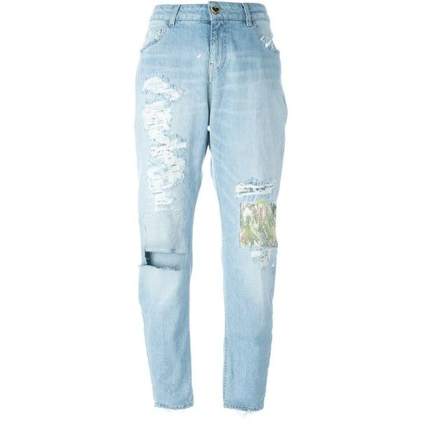 Twin-Set Distressed Boyfriend Jeans (£145) ❤ liked on Polyvore featuring jeans, pants, bottoms, blue, destruction jeans, torn jeans, blue ripped jeans, distressed boyfriend jeans and ripped boyfriend jeans