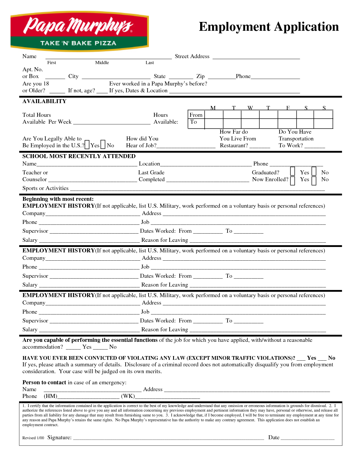 Papa MurphyS Application Print Out  Papa MurphyS Employment