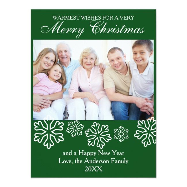 Green Snowflakes Photo - 6.5x9 Christmas Card |  Green Snowflakes Photo - 6.5x9 Christmas Card