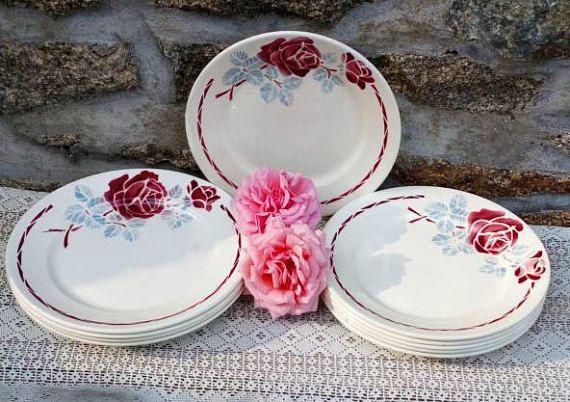 French Dining Plates Set Badonviller Red Roses Vintage