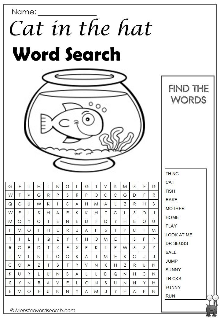 awesome Cat in the Hat Word Search | Word Search | Word puzzles for ...