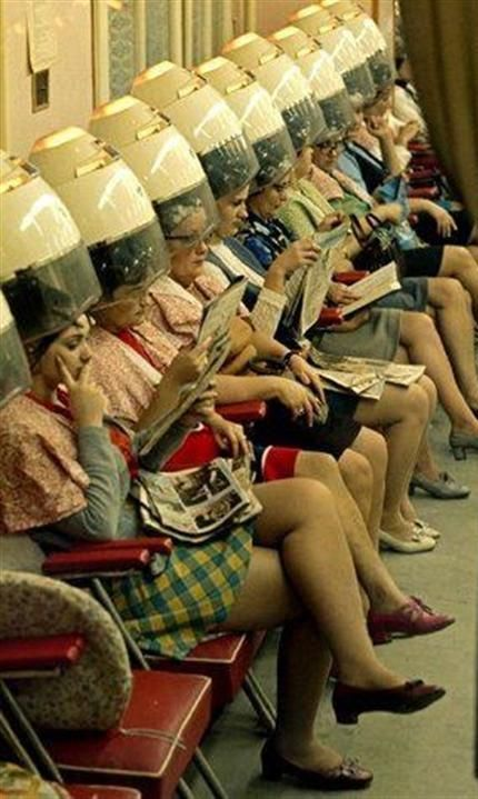 Hair salon, 1960s... and reading True Confessions (so scandalous)