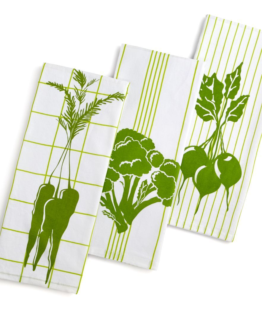 Martha Stewart Collection Set of 3 Green & White Flour Sack ...