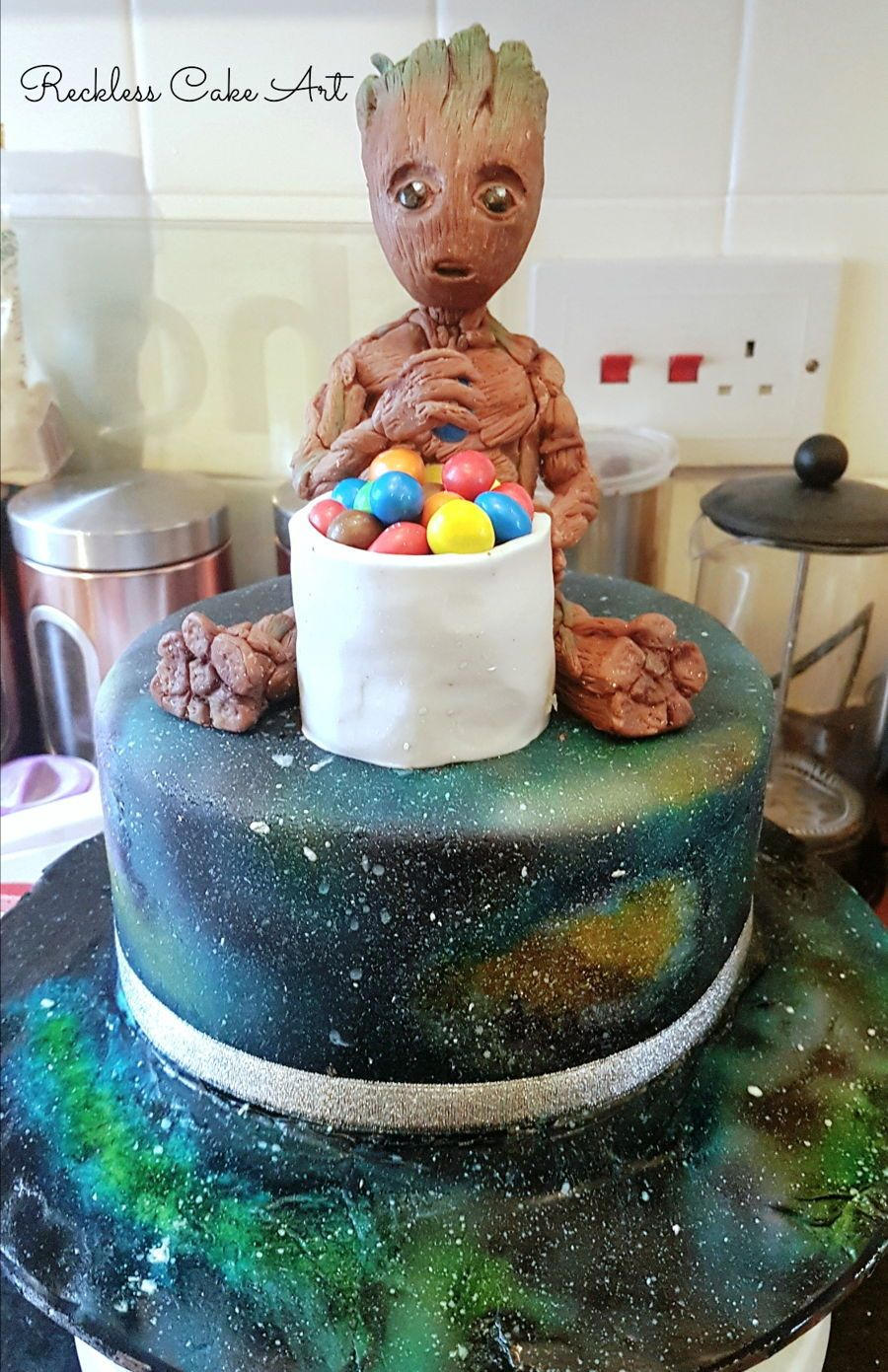Baby Groot Cake Baby Groot With A Galaxy Themed Cake I Did