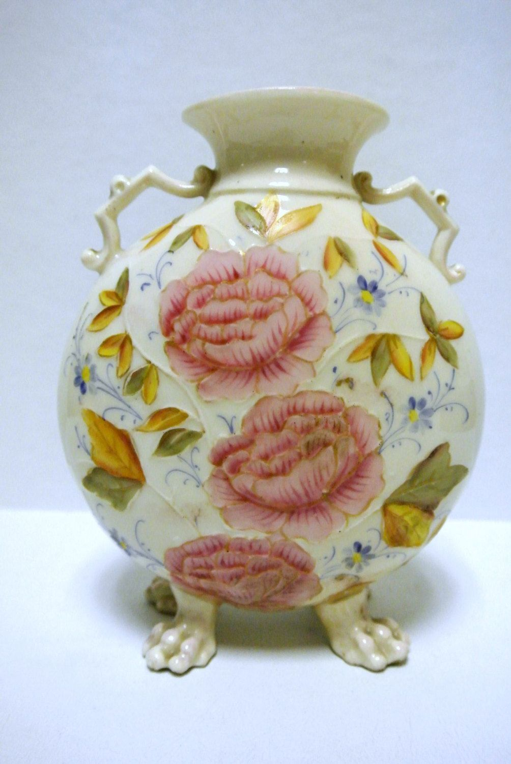 Antique Royal Rudolstadt Germany Hand Painted Floral Claw Footed Victorian Signed Vase by WallflowerAntiques on Etsy