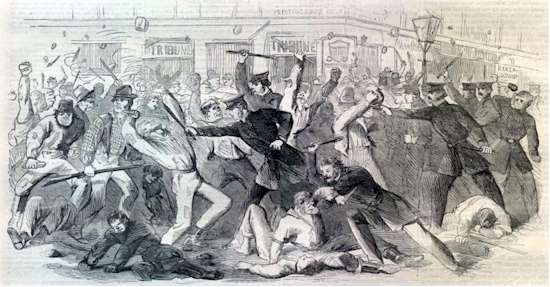 Draft Riots of the 1860s....as seen in the movie Gangs of New York.