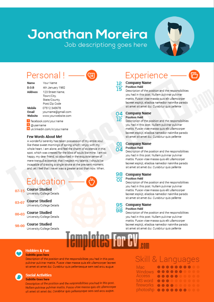 Professional Resume Template preview image Modello cv