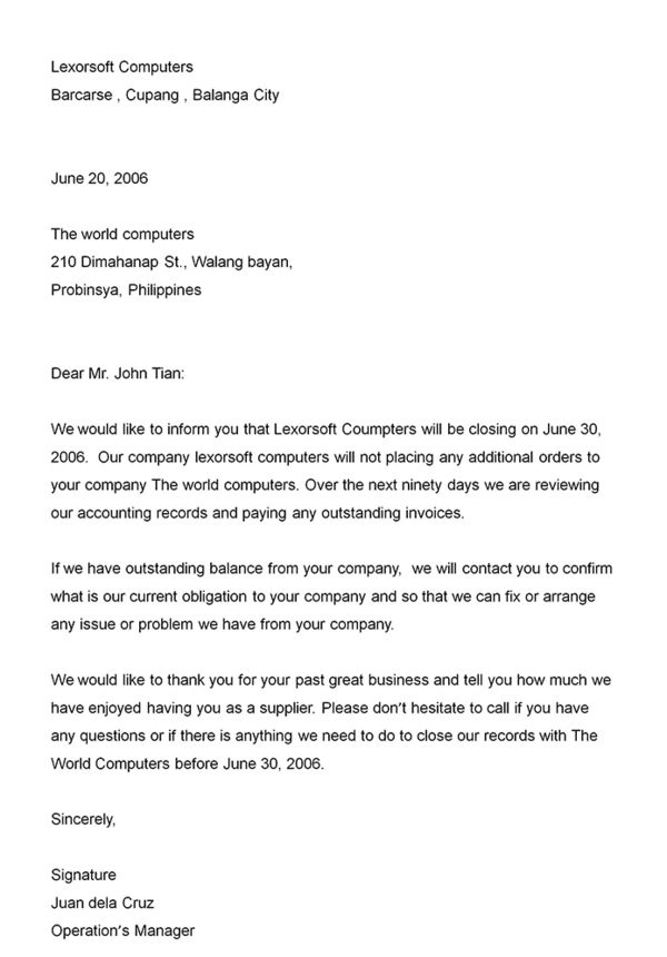 Business announcement letter - Announcement letter is written to ...