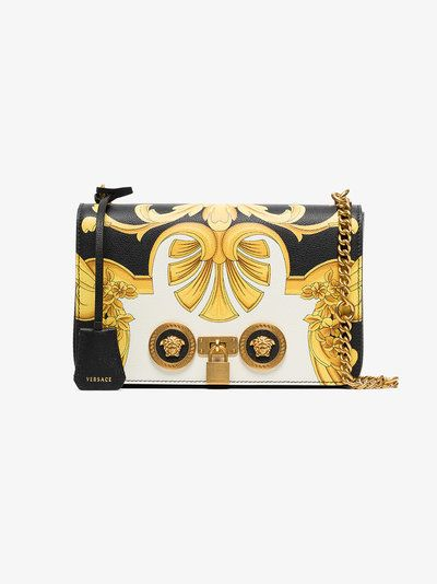 0fdd3c63cd33 Versace black and gold Barocco SS 92 print leather chain strap shoulder bag