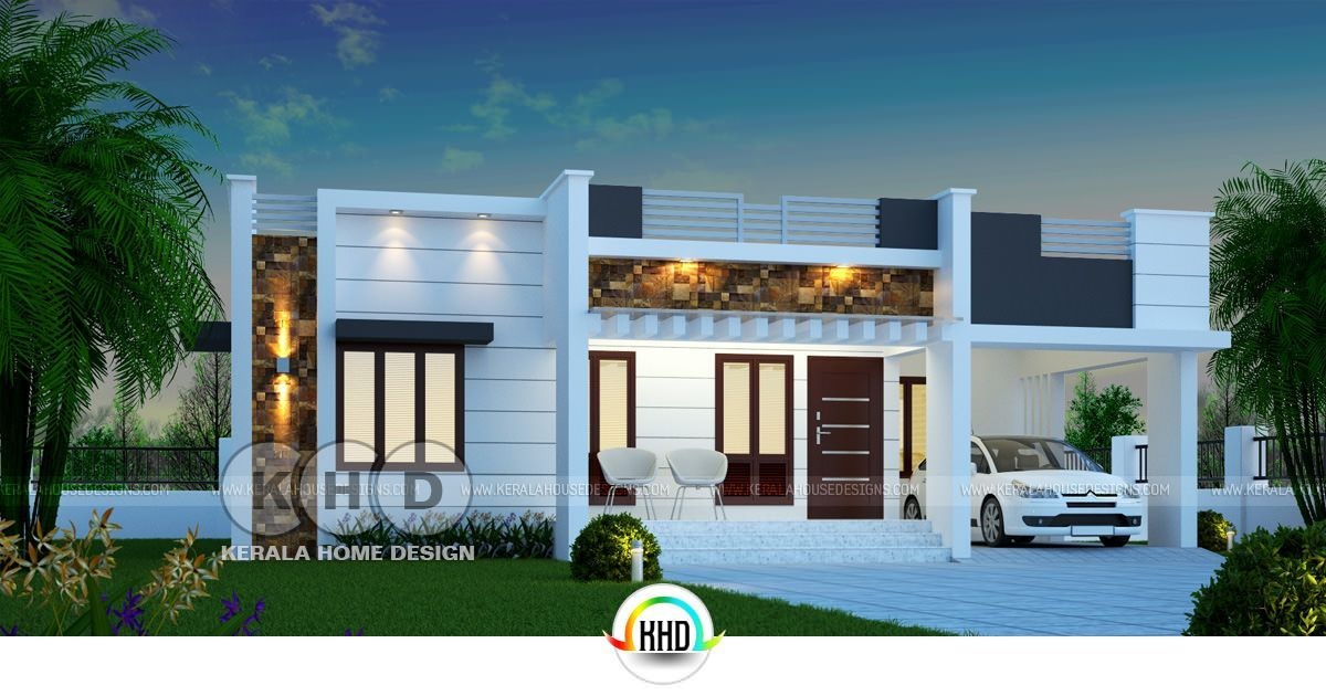 1450 Square Feet 3 Bedroom One Floor Kerala Home In 2020 House