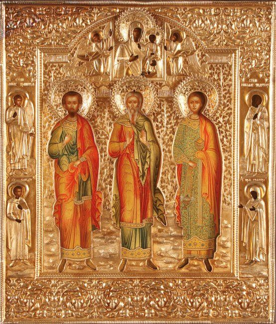 Russian Icon of Sts. Samon, Guriy, and Aviv
