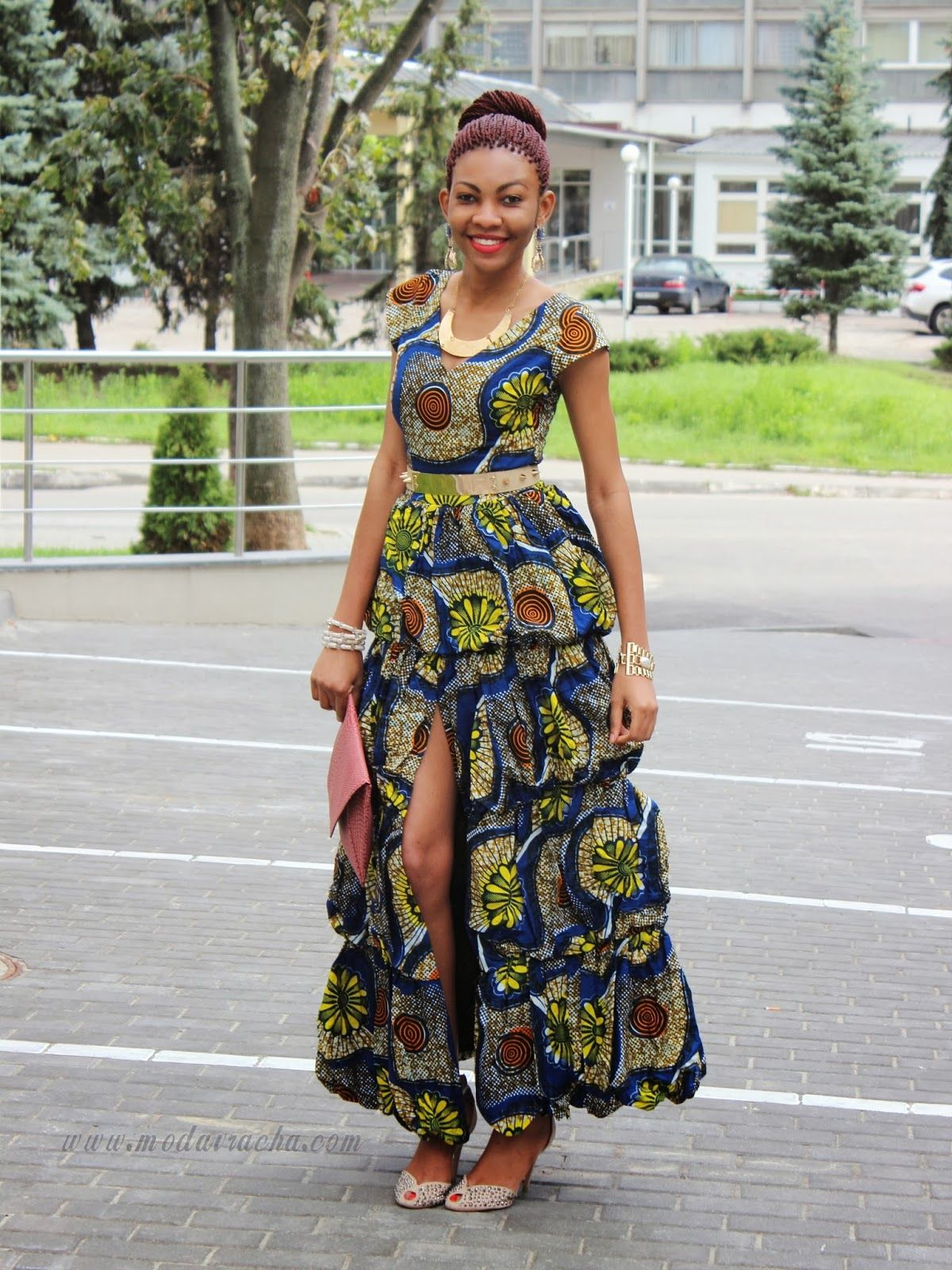 Long Ankara Dress With Front Slit Modern African Dress Pinterest Ankara Dress Dresses