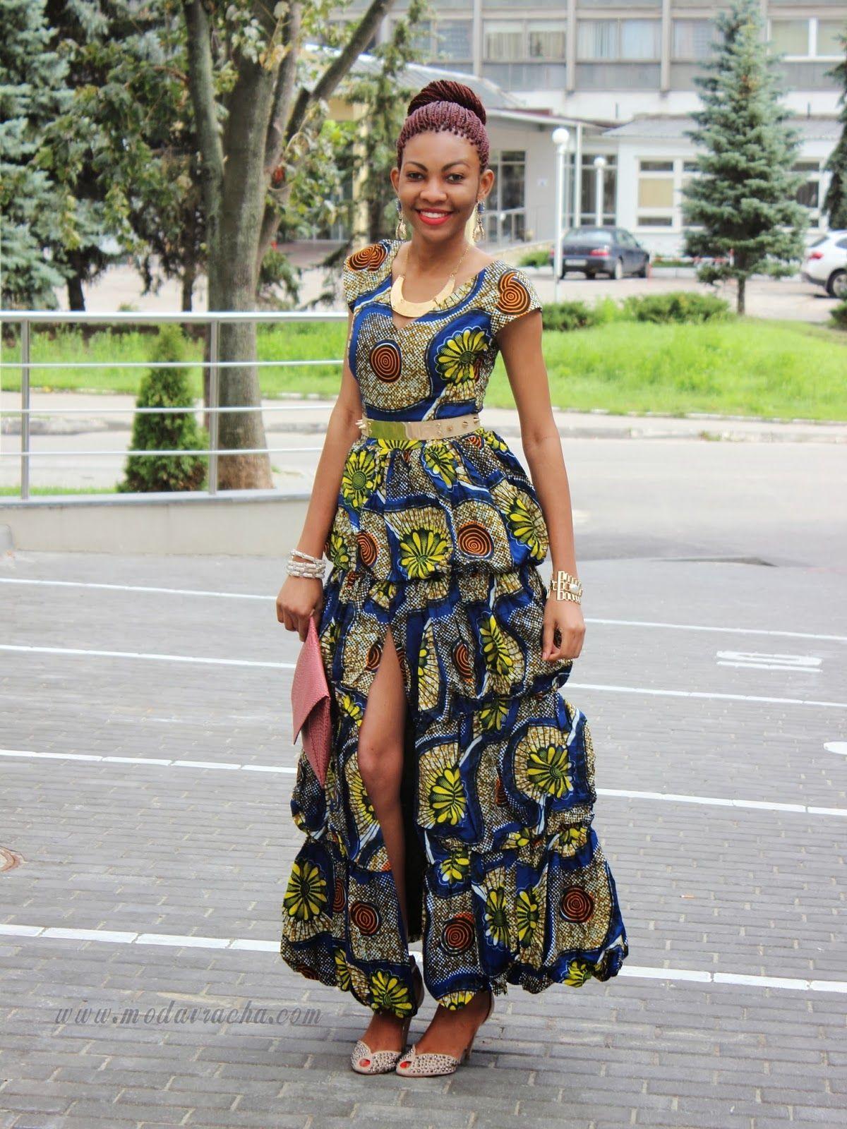 New modern dress styles - Long Ankara Dress With Front Slit Modern African Dress