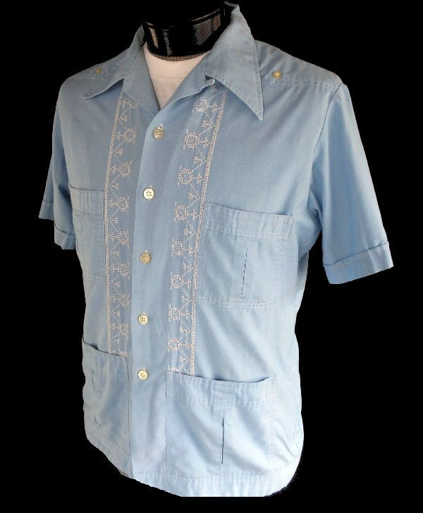ab147fb7b6 Vintage 60s Mens Guayabera Shirt - 1960s Embroidered Mexican Wedding Shirt  - Blue Cotton - Loop Collar - Size L Large