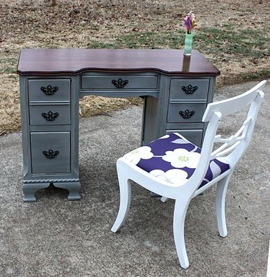 love the wood top and painted distressed bottommust do this for the cabins dining rm table house pinterest my boys boys and grey paint colours - Desk Colors