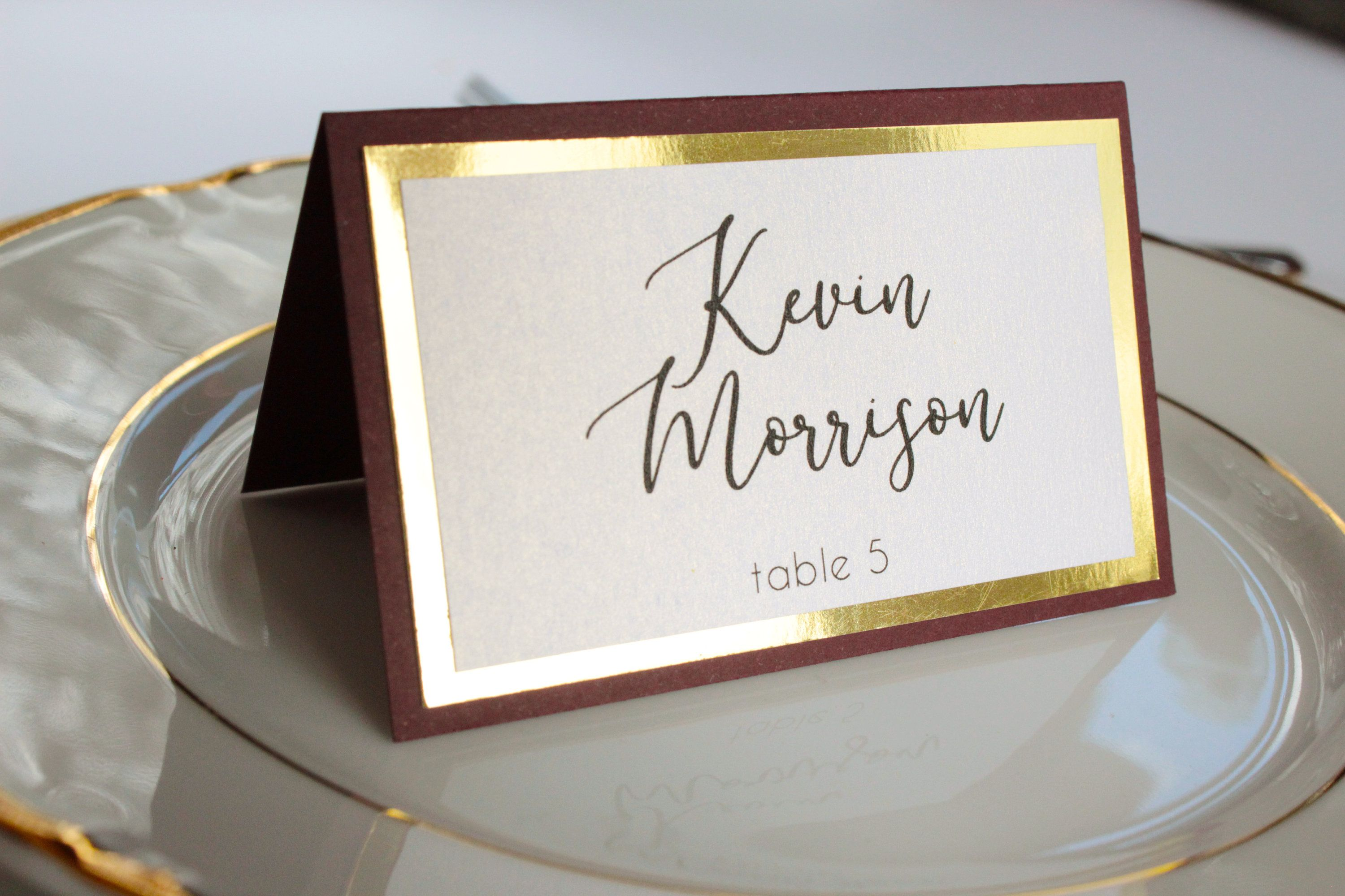 Sample Burgundy And Gold Place Card Burgundy Place Card Gold Foil Place Card Marsala Place Card We Card Table Wedding Gold Place Cards Wedding Place Cards