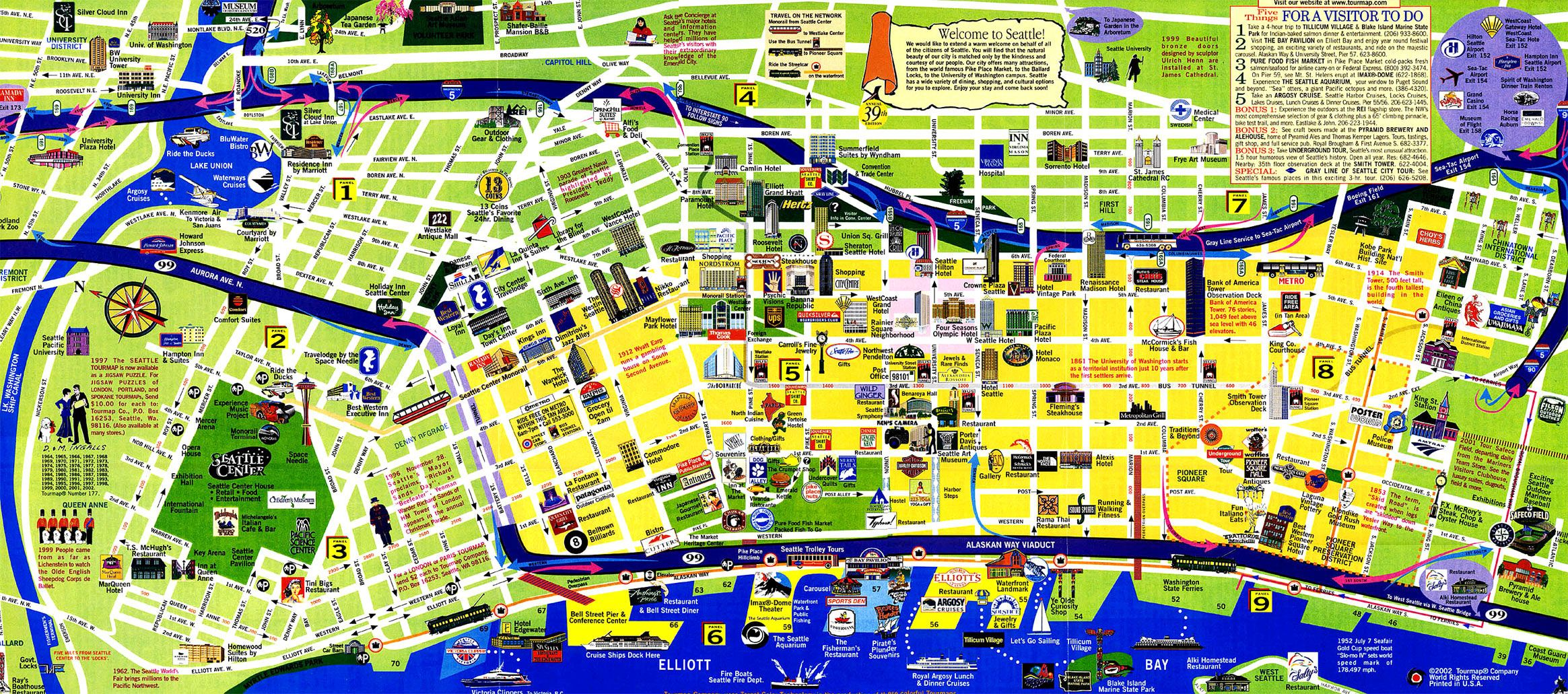 Seattle Attractions Map tourist map of seattle | below is my favorite city tourist map and  Seattle Attractions Map