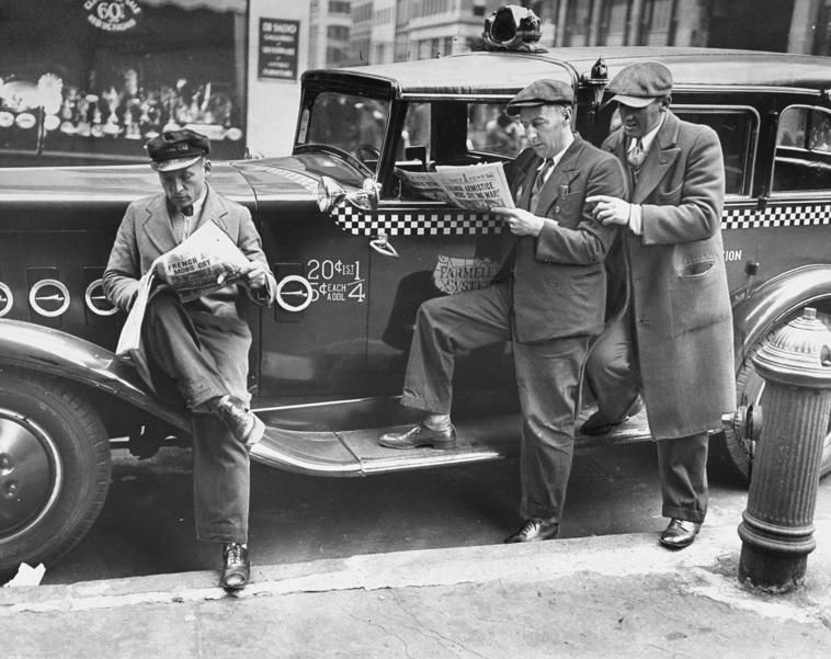 Three Cabbies Fill Out Crossword Puzzle For The Daily News Contest At 50th Street And Madison Avenue In The Early 1930s Taxi Cab Cab Driver Today In History