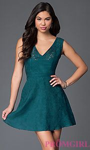 Buy Hunter Green Suede Open Back Dress at PromGirl