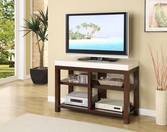 Kyle Collection White Finish Faux Marble Top Dark Wood Tv Stand Entertainment Center Unit With Storage Shelves