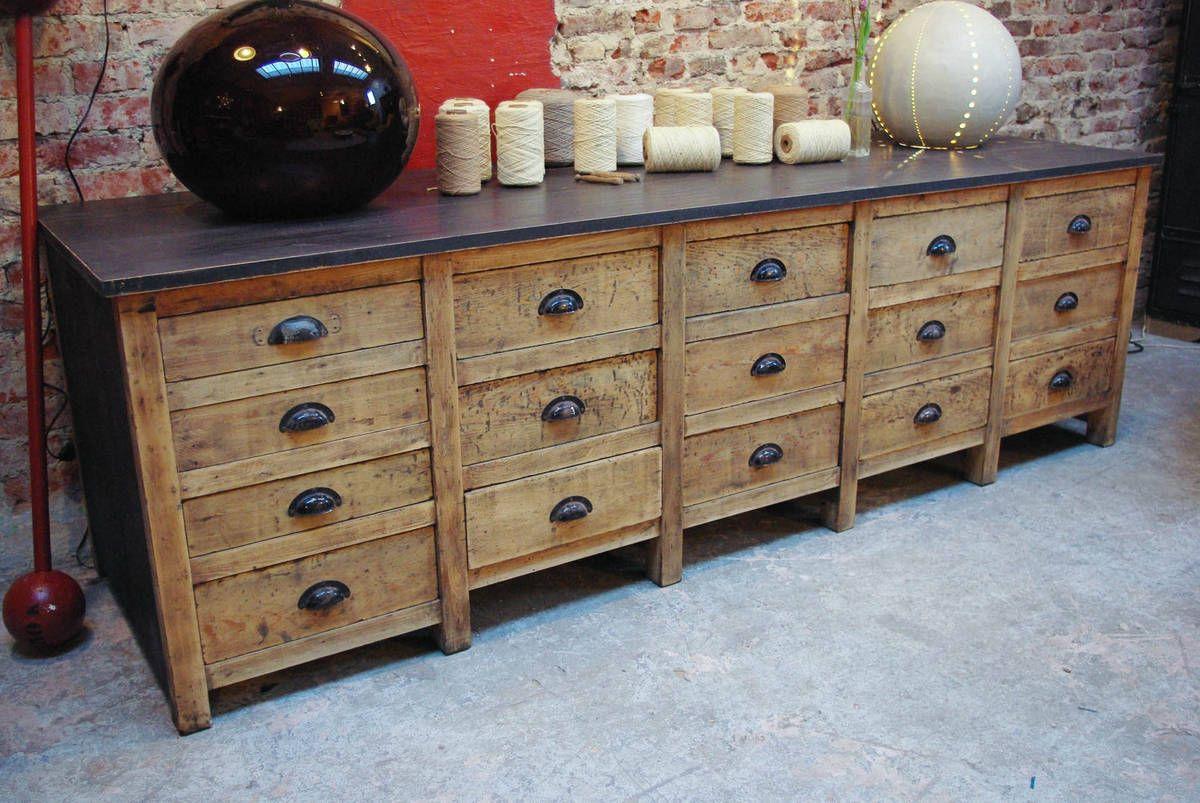 Ancien meuble de m tier tiroirs par le marchand d 39 oublis for Meuble a tiroir ancien