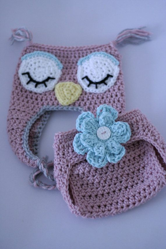 Sleepy Owl Hat and Diaper Cover Set    $37.00
