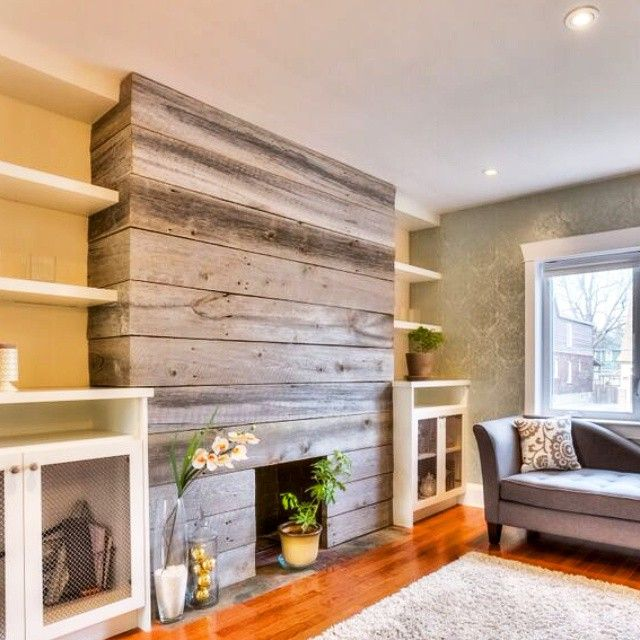 amazing living room built ins reclaimed wood tv | Reclaimed barnboard fireplace makeover from a while back ...
