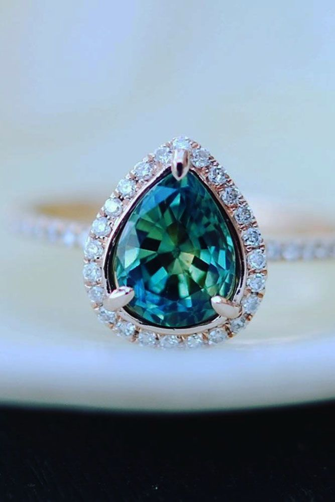 band pave productimage blue ring engagement with micro rings platinum green sapphire