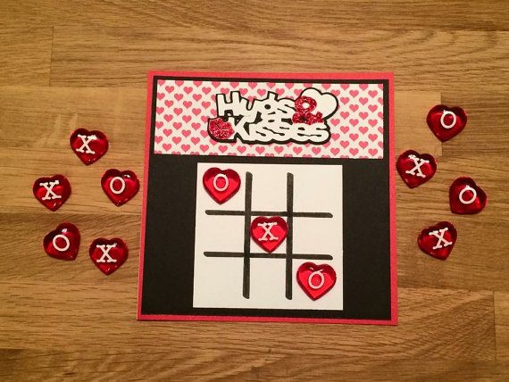 Tic Tac Toe Valentine Game Card/ Hugs & by ChrisiesCollection