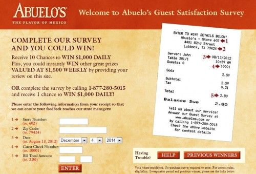 Abuelou0027s Customer Satisfaction Survey, wwwabuelos\/survey - satisfaction survey