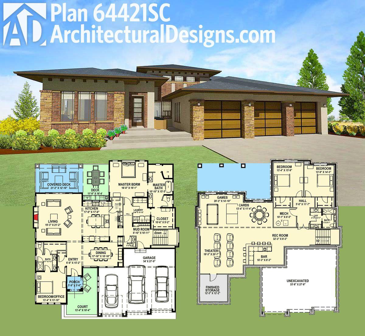 Plan 64421sc Modern Prairie House Plan For A Rear Sloping Lot Prairie Style Houses Prairie House Architectural Design House Plans