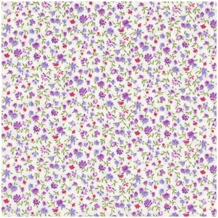 Purple floral fabric quilt fabric quilters basics white for Purple baby fabric