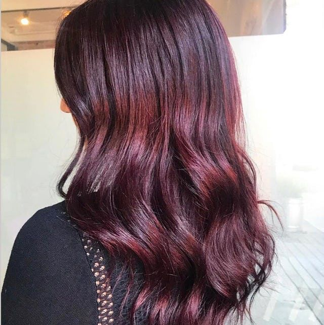 Rimini Garnet Vibrant Red Hair Color With Hints Of Aubergine In 2021 Brunette Hair Color Long Hair Color Brown Hair With Blonde Highlights
