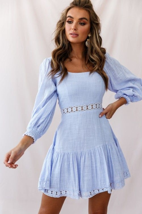 Sweetheart CorsetBack Lantern Sleeve Dress Lavender - Cute dresses, Ladies dress design, Lantern sleeve dress, Dresses, Short dresses, Hot dress - Sweetheart CorsetBack Lantern Sleeve Dress Lavender