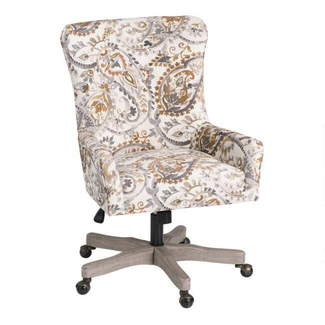 Brown And Gray Paisley Trystan Upholstered Office Chair In