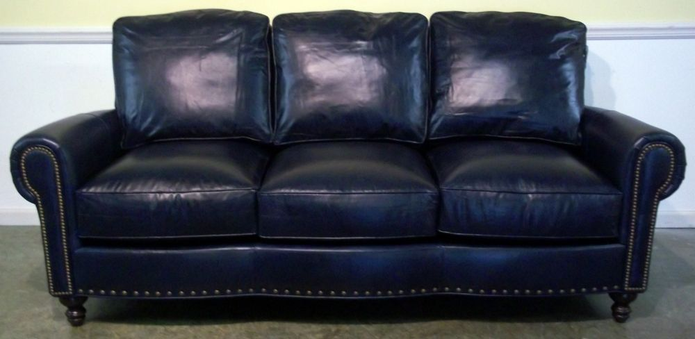 Dark Blue Leather Sofa (I love this sofa) | For the Home ...