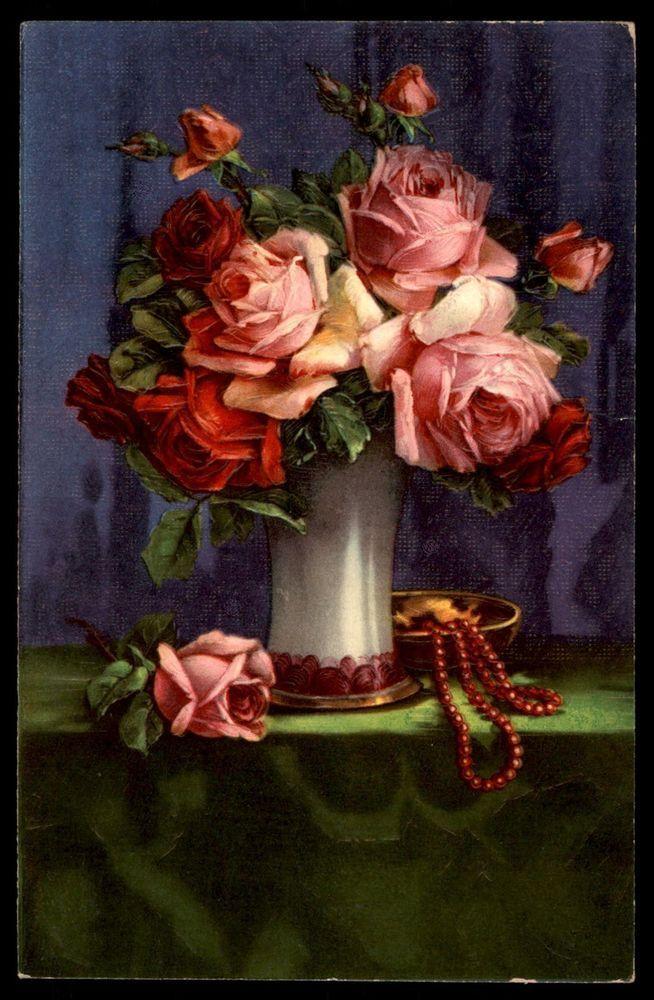 Antique roses flowers series 14576 German artist postcard