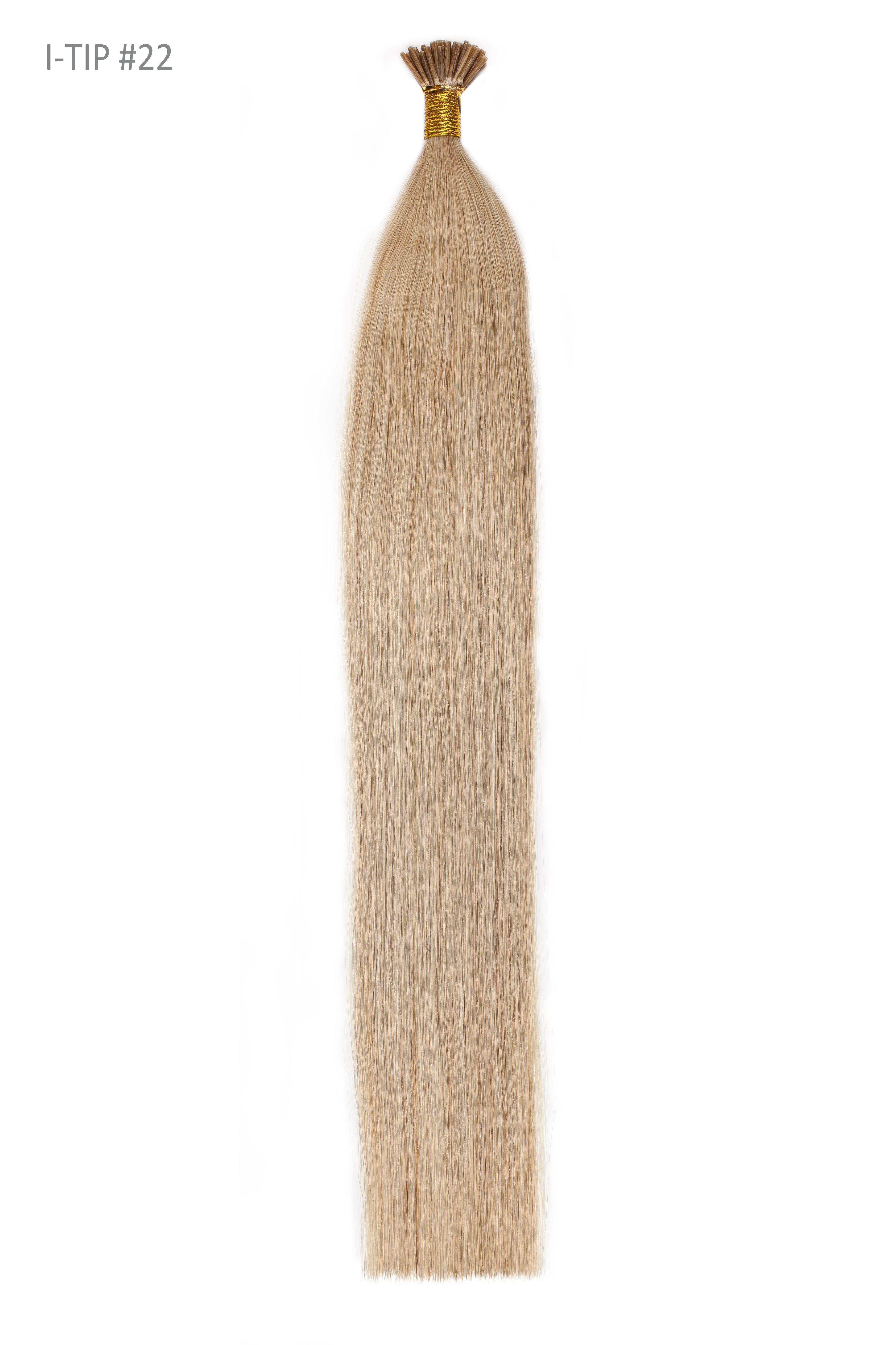 22 Inch Stick Tip / I-Tip Pre-bonded Remy Human Hair Extensions - Light Ash Blonde (#22) #lightashblonde