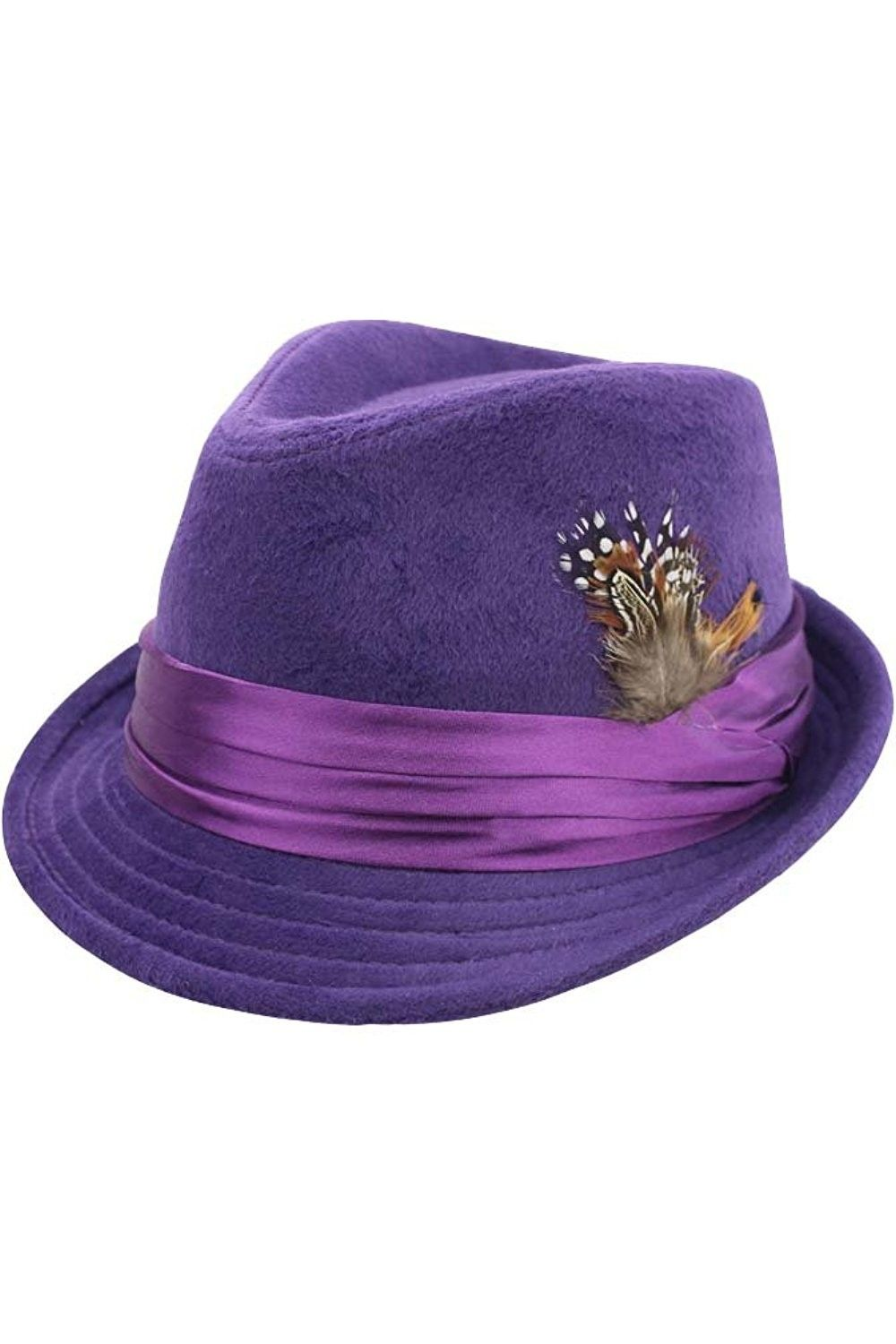 7ee692dfc78 Purple Wool Felt Fedora Hat With Feather Trim - CT17YLQT78G - Hats   Caps