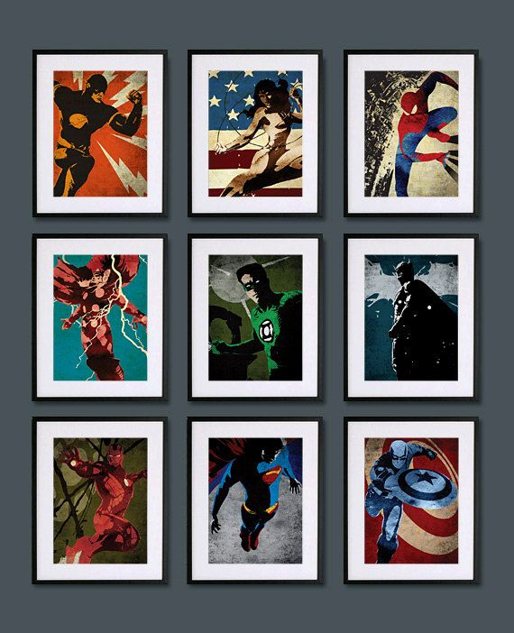 Boys Superhero Room Decor: Superheroes Set Set Of 9 8X10 Poster Prints By