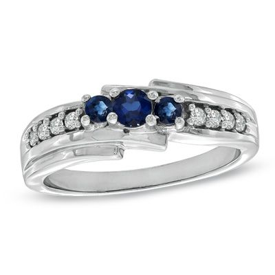 Fine Jewelry Womens 1/8 CT. T.W. Blue Sapphire 10K Gold 3-Stone Ring bbByt