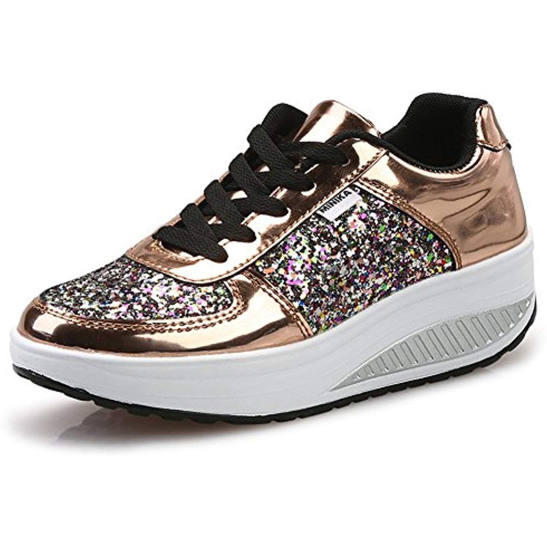 UK  Women Platform Shoes Lace UP Shape Ups Toning Fitness Walking Sport Sneakers