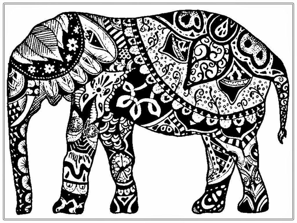 Printable Coloring Pages For Adults Adult Coloring Pages Printable Elephant  ~ Coloring Tone
