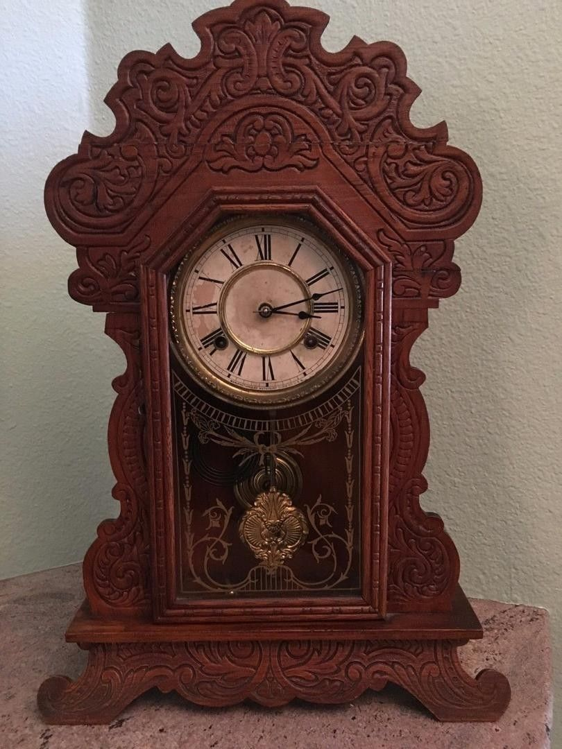 Waterbury gingerbread shelf clock 1832679616 antique you are bidding on a waterbury gingerbread shelf clock the clock is in good condition and chimes on the half hour and hour the top of the gingerbread has amipublicfo Images