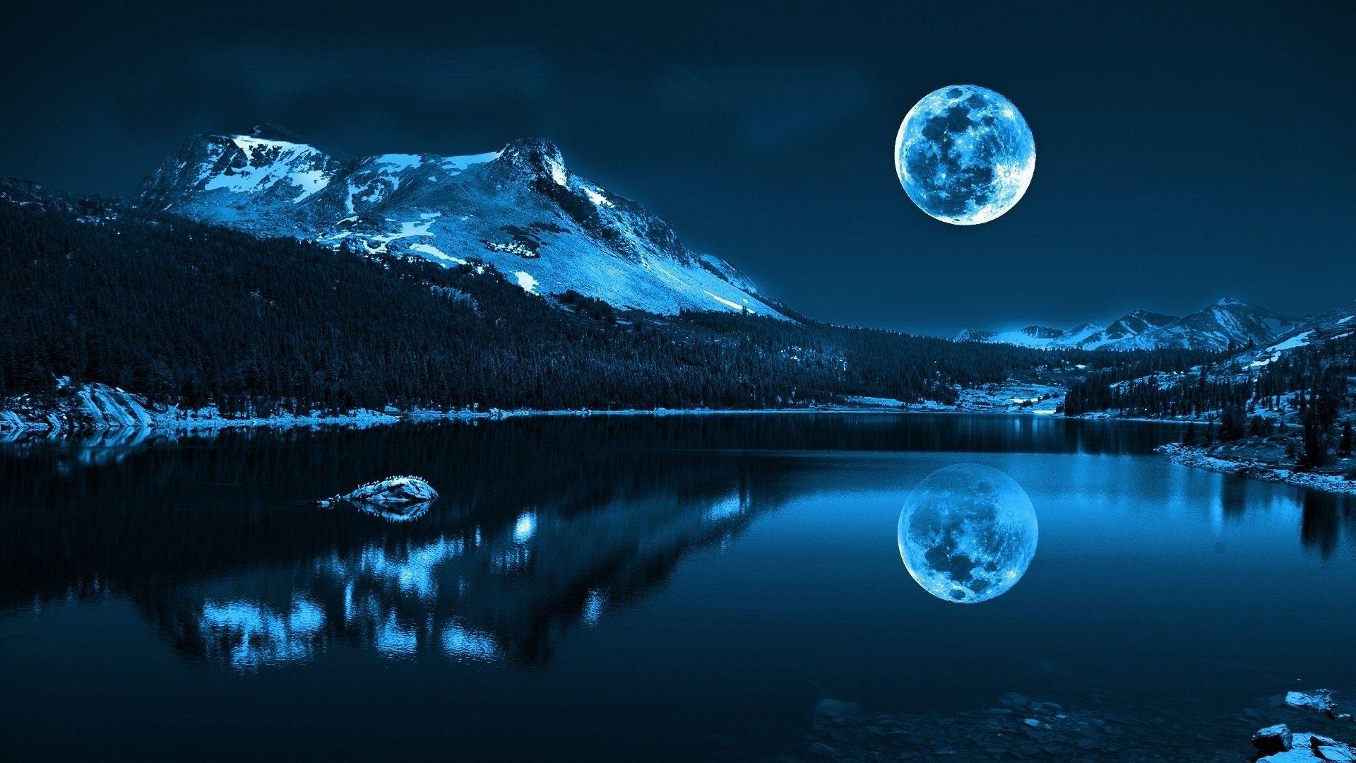 Fond ecran hd nuit sur lac lune froid paysage montagne for Fond ecran hd zen