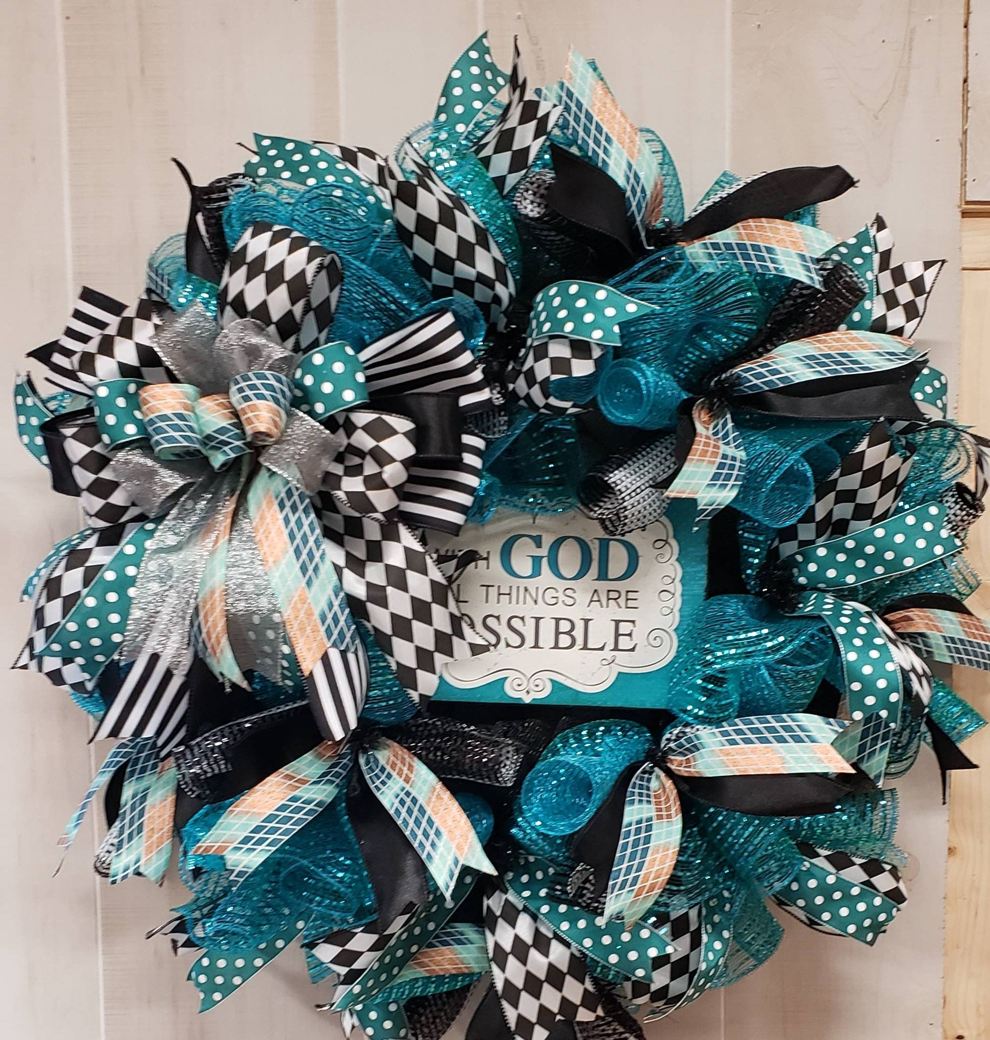 Photo of FREE SHIPPING / religious mesh wreath / front door / teal and black / religious wall hanger / gift for her / all things are possible / everyday decor