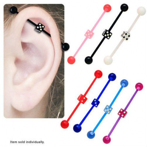 Body Candy 14G Handcrafted Black Anodized Steel Rainbow Chain Helix Earring Industrial Barbell Chain Earring 38mm