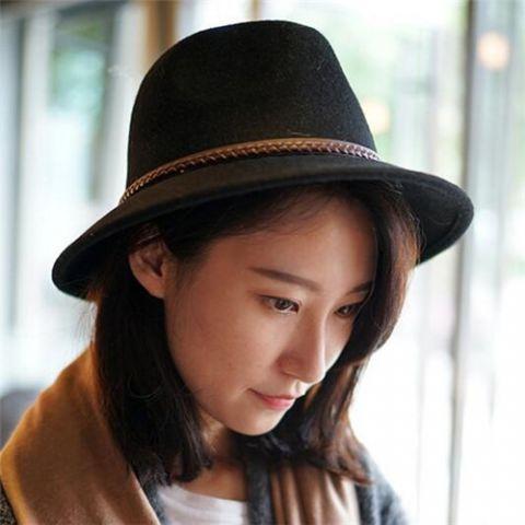 433bc67af86 Leather buckle felt fedora hat for women fashion winter wool trilby hats