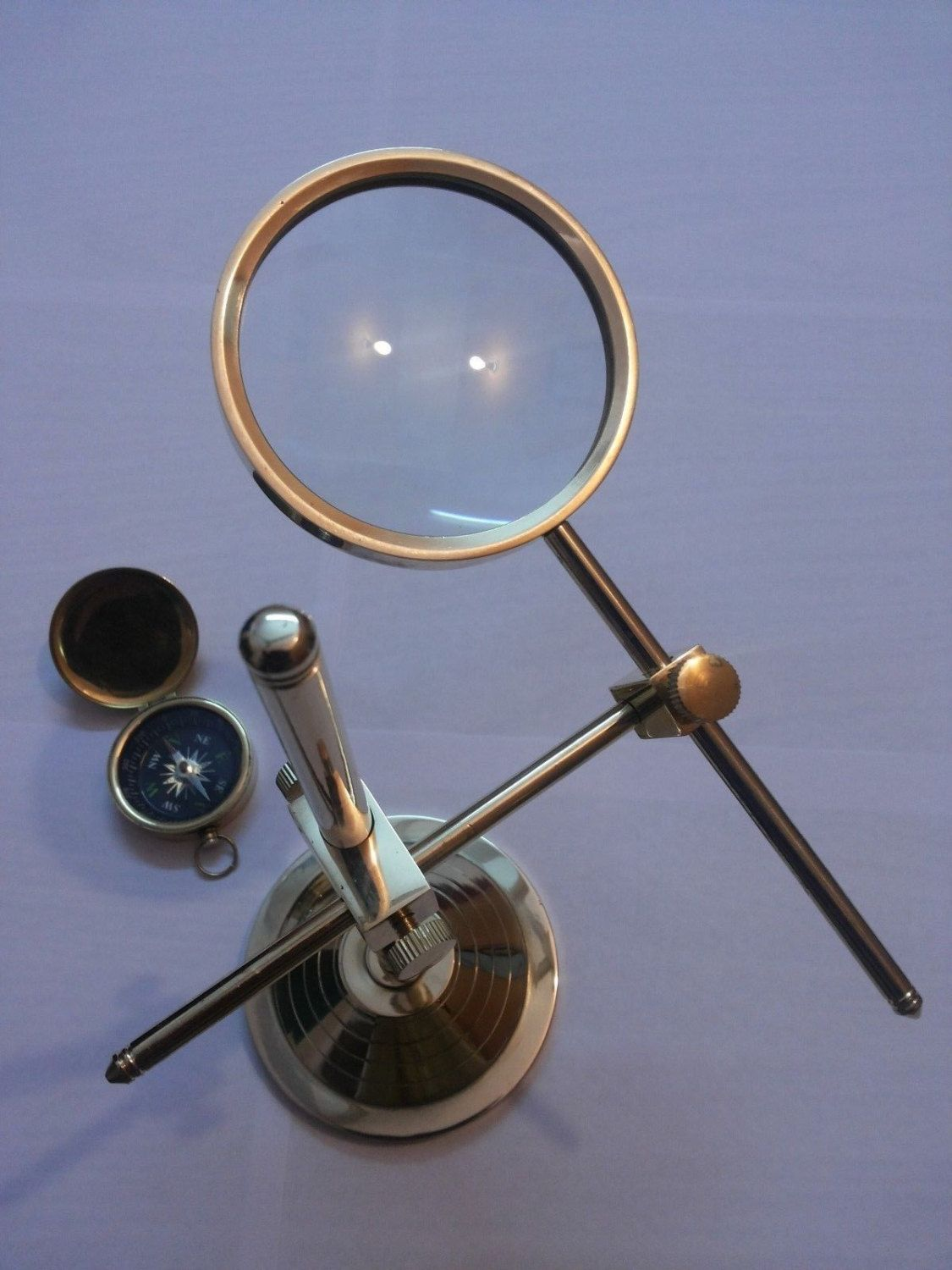 Magnifying Glass Surveying Brass Table Top Map Reader Magnifier Antique Compass By Collectionsbyjas On Etsy Glass Collection Magnifying Glass Table Top Decor