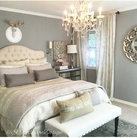 Benjamin Moore Coventry Gray Romantic Bedroom Design Rustic